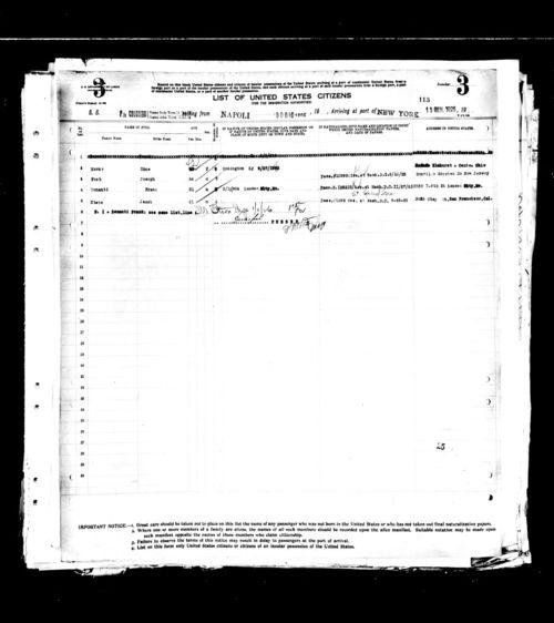 Frank benanti 1926 ship records
